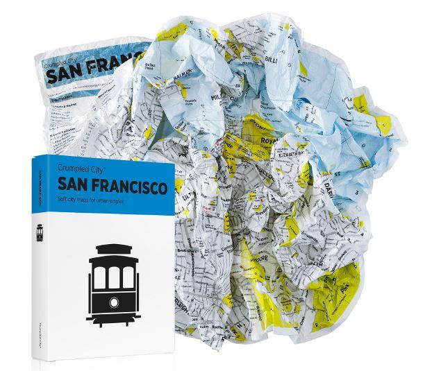 """""""Crumpled City San Francisco"""" pokrčená mapa"""