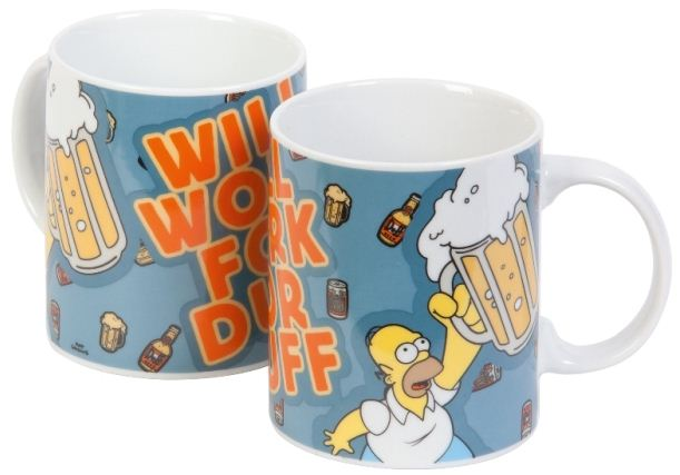 """The Simpsons"" porcelánová šálka ""Homer – Will Work for Duff"""