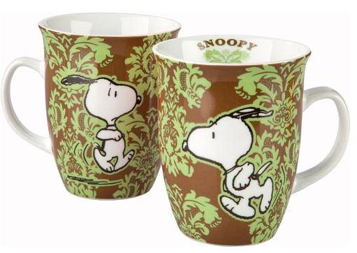 """""""Snoopy"""" šálka hnedo-zelená"""